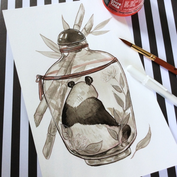 Black and white ink painting of a panda in a bottle with bamboo