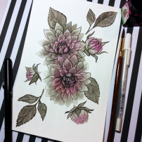 Black and white ink painting of dahlias and leaves