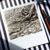 Black and white ink painting of forest creek