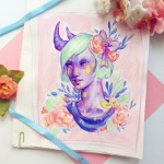 Pastel acrylic portrait of a demon girl with flowers
