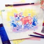 bright Colorful acrylic pet portrait of an adorable Corgi