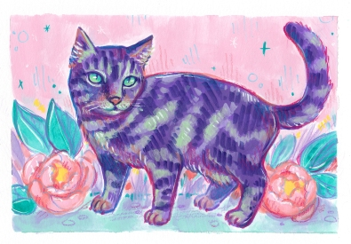 adorable kitty purple animal painting unique pet portrait commission animal lovers
