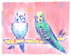 Two parakeets perched branch pink background Colorful mixed media pet portrait commission