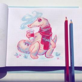albino crocodile with coffee and scarf.JPG