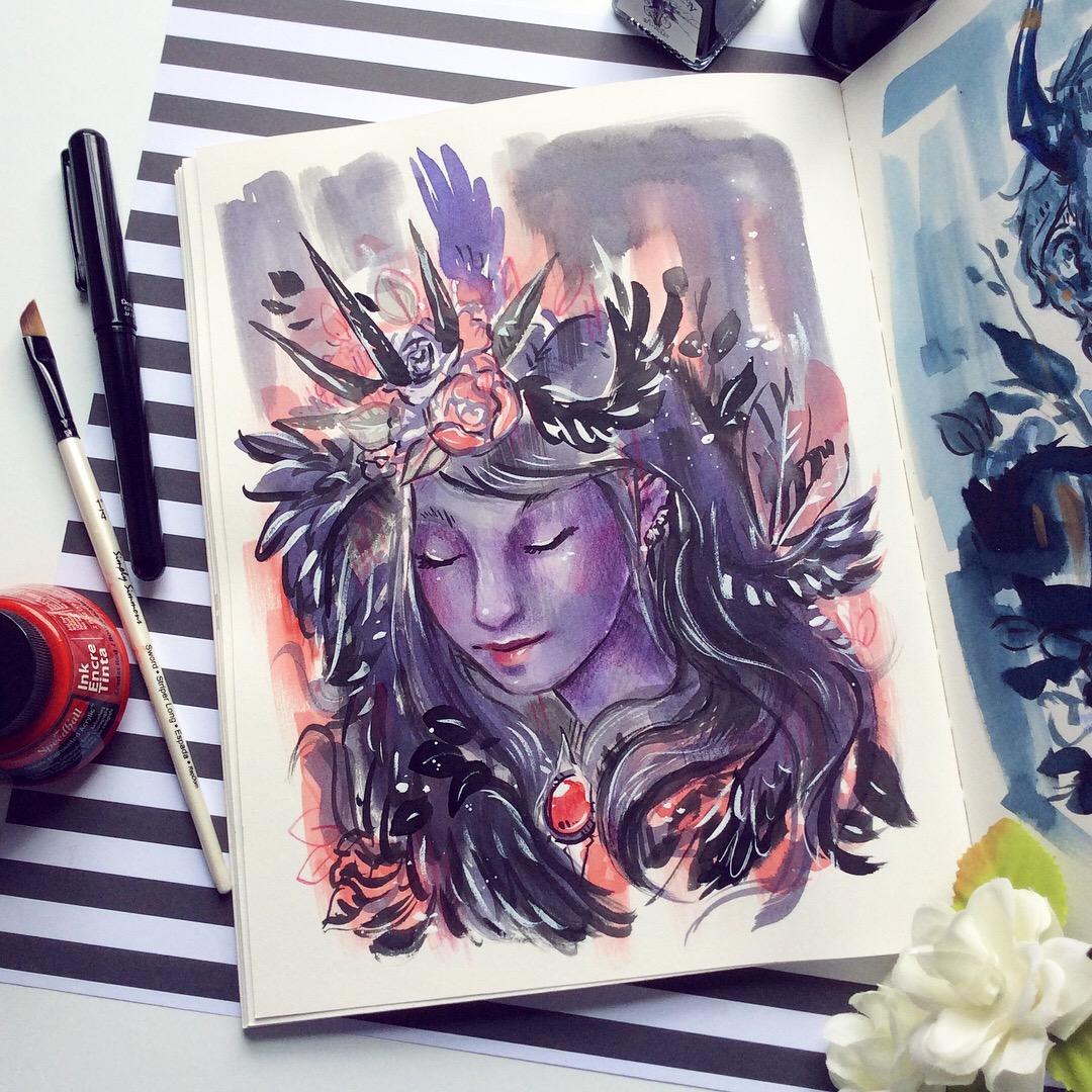 inktober 2018 feather girl portrait