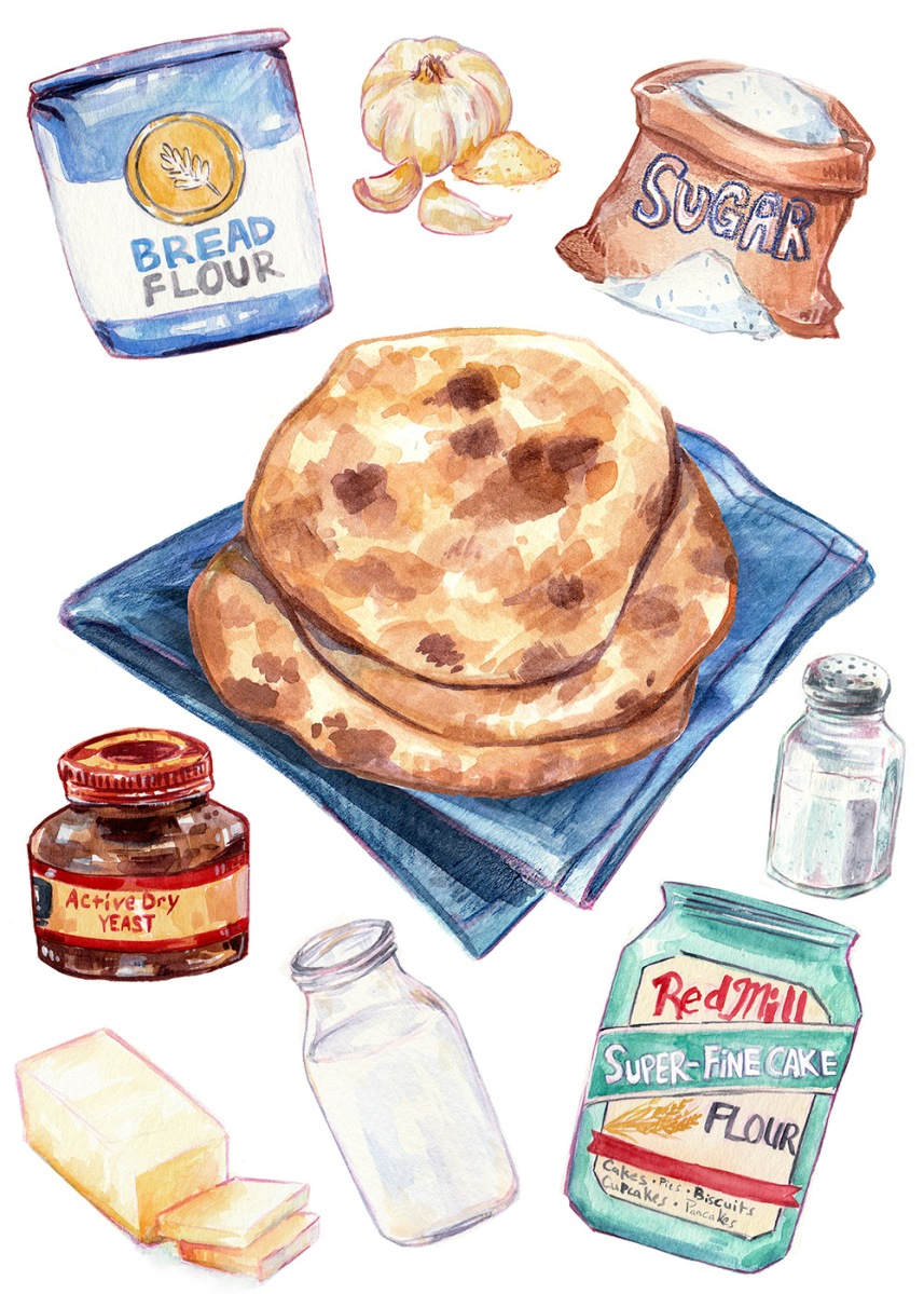 Watercolor food illustration of naan bread on blue cloth with ingredients