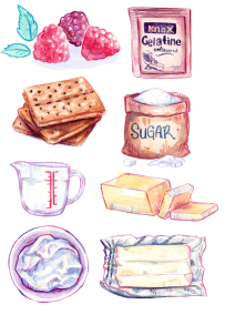 Watercolor food illustration of ingredients for a raspberry cheesecake