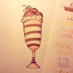 copic marker illustration of a cute sundae