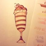 copic marker illustration of a cute sundae