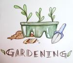 watercolor gardening supplies illustration