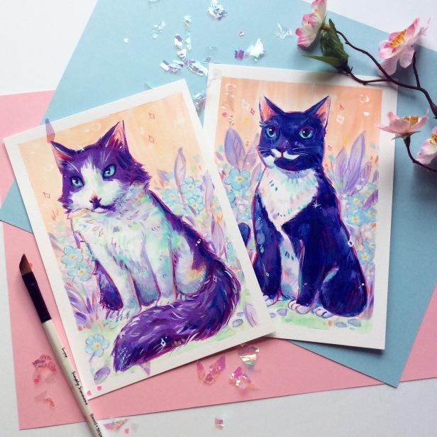 colorful purple blue cat paintings pet portrait memorial art commissions