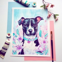 puppy pet portrait painting pink and blue acrylic with lilies