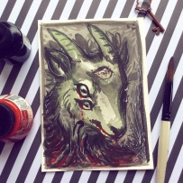 creepy goat head green and black ink painting