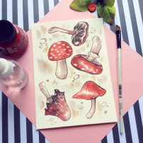 red, black, gold ink painting of cute mushroom pattern
