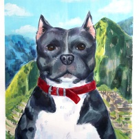 puppy in front of mountains pet portrait commission acrylic painting