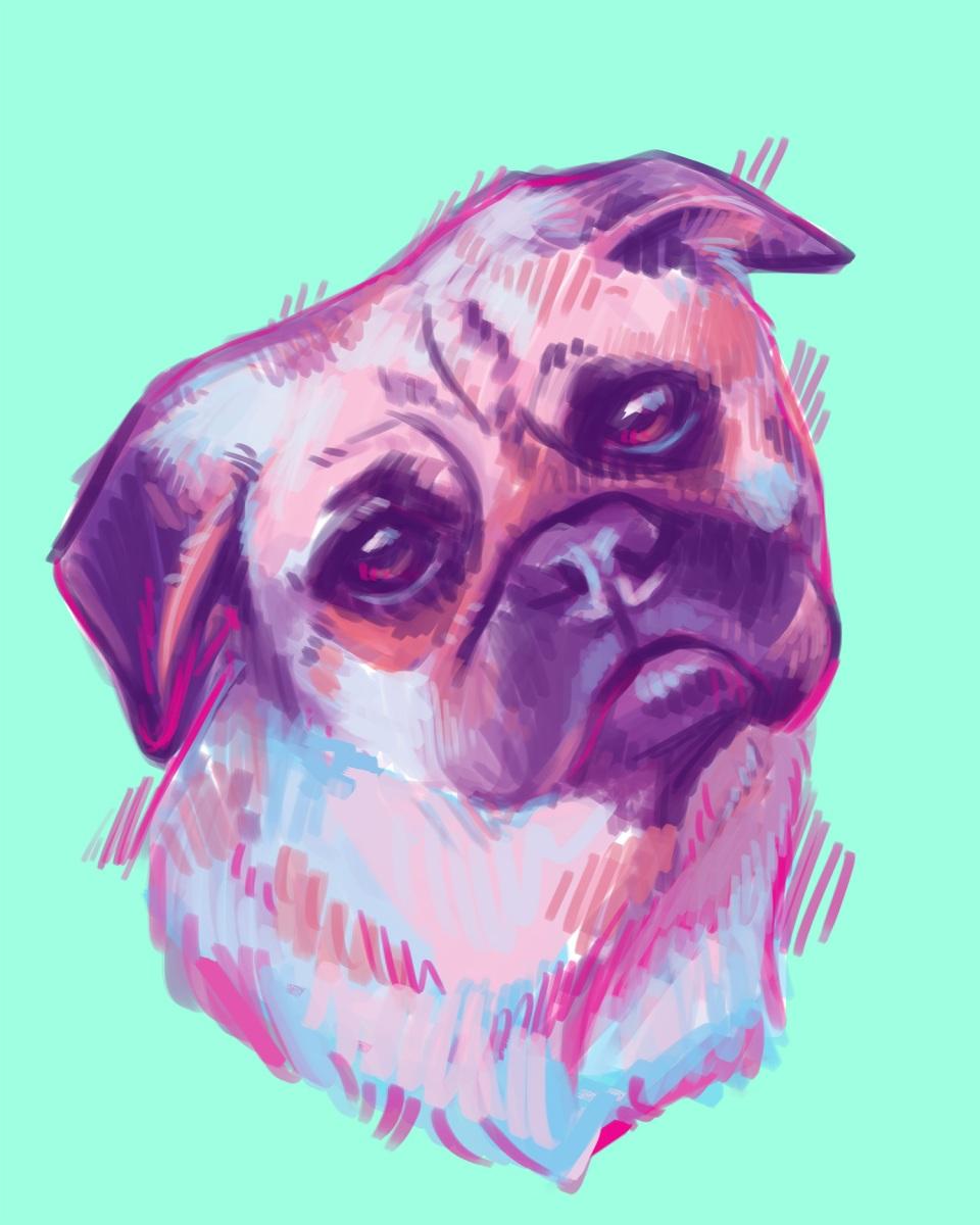 neon pug pet portrait art commission digital painting
