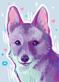 colorful pastel digital painting corgi pet portrait art commission