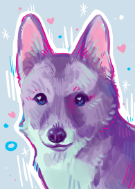 colorful pastel digital painting corgi pet portrait art commission