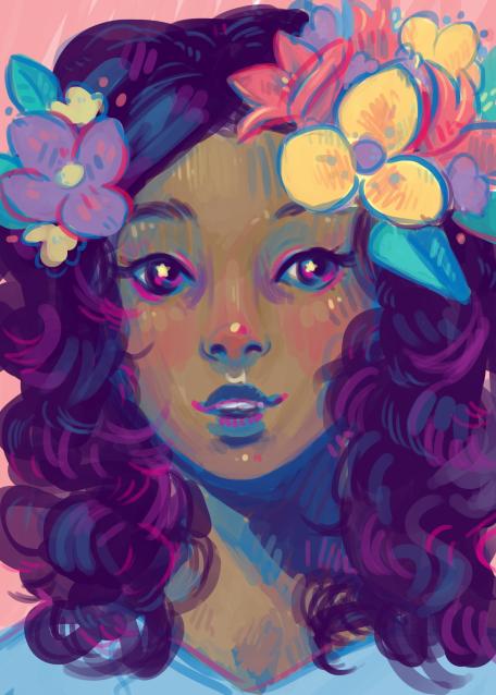 pretty-flower-girl-digital-portrait-painting