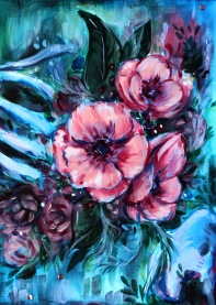 acrylic canvas painting of blue pink flowers bones abstract