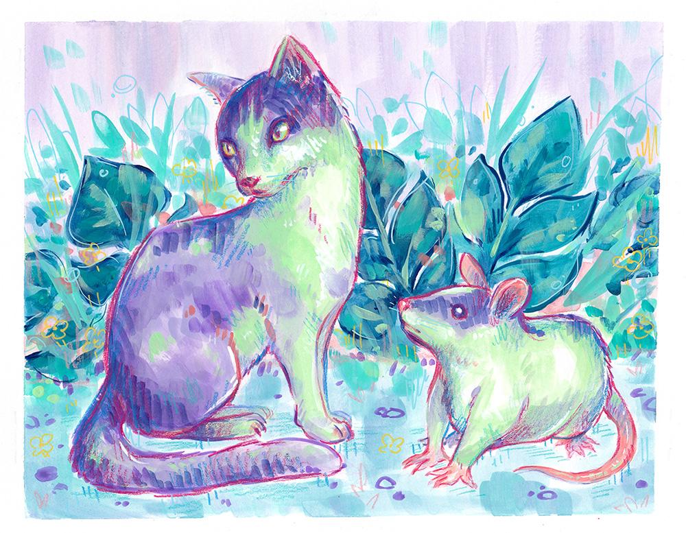 purple green mixed media pet portrait memorial cat rat leaves illustration painting