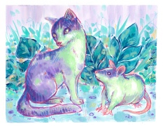 purple green mixed media pet portrait memorial cat rat leaves illustration painting
