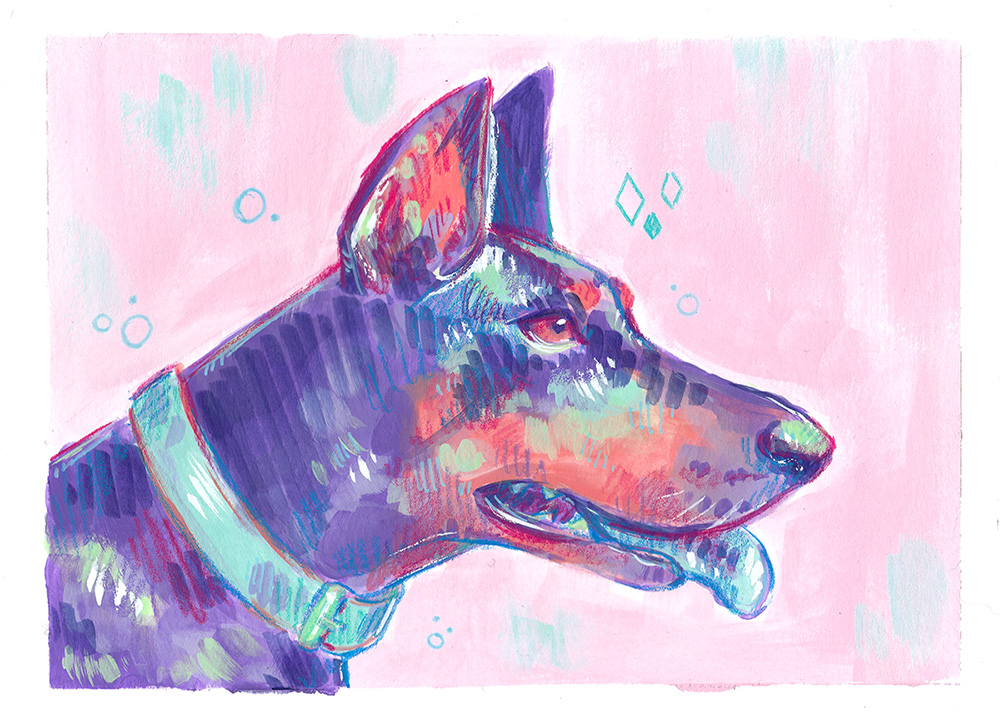 colorful purple dog pet portrait painting pink background