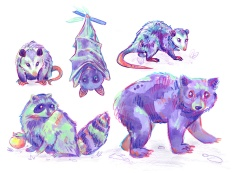 purple opossums, a bear, raccoon and bat acrylic painting