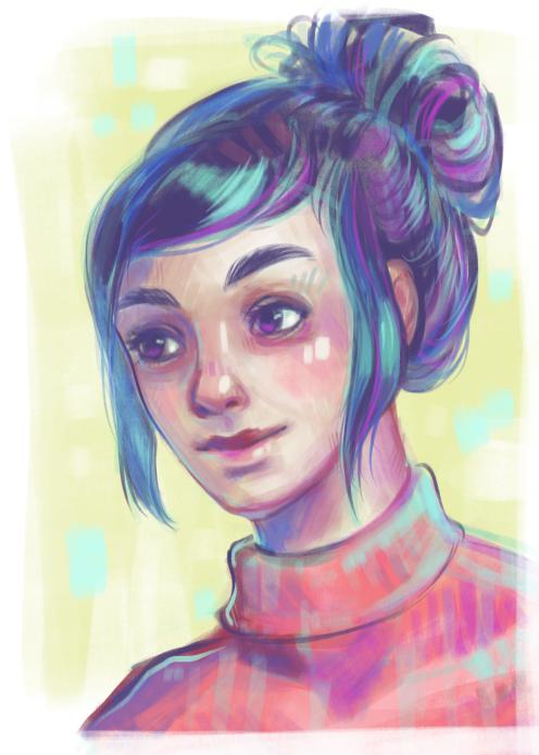 colorful-girl-blue-hair-digital-portrait-painting