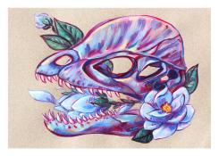 gouache dilophosaurus dinosaur skull magnolia flower pastel colors illustration