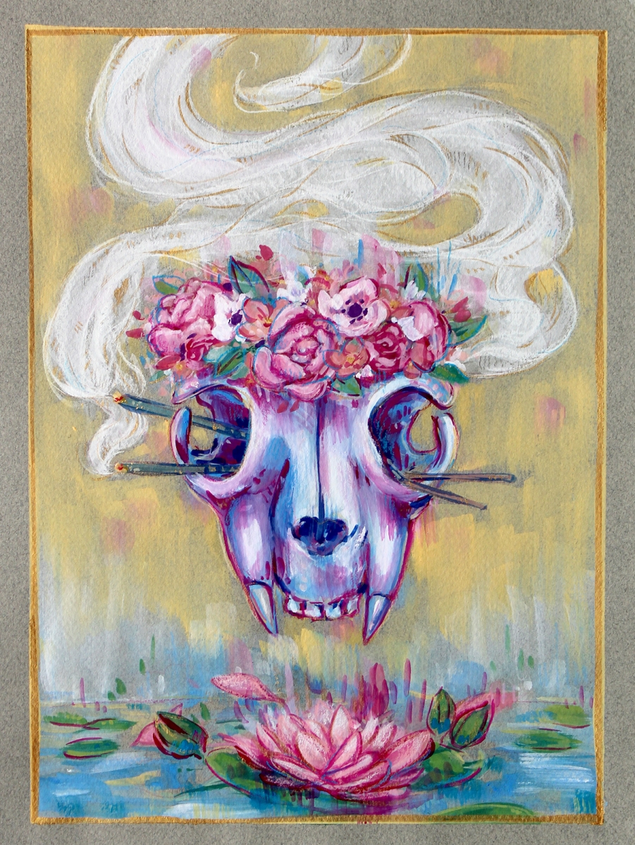 gouache cat skull flower crown incense waterlily lotus toned paper original painting