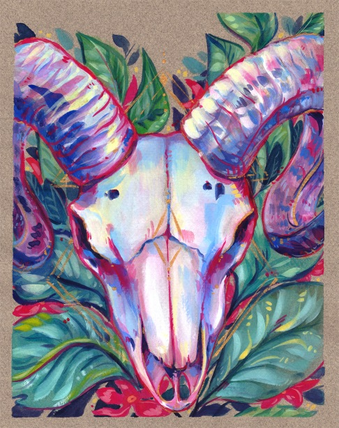 original gouache painting ram skull pink green gold flowers tropical foliage illustration