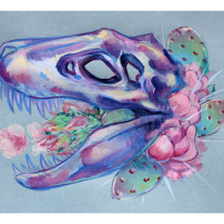 original gouache painting tyrannosaurus rex skull cactus flowers pastel color blue background illustration