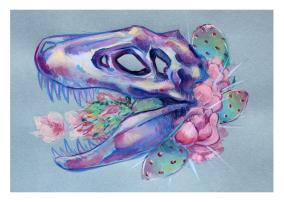 original gouache painting tyrannosaurus rex skull cactus flowers pastel color blue background illustration