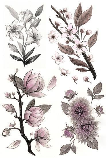 ink flower illustration inktober 2017 magnolia cherry blossom dahlia lily