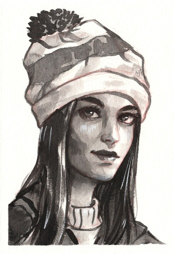 ink-portrait-girl-with-hat