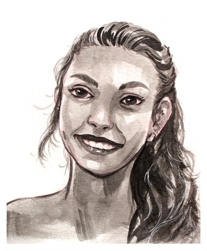 monochrome-girl-ink-portrait-painting