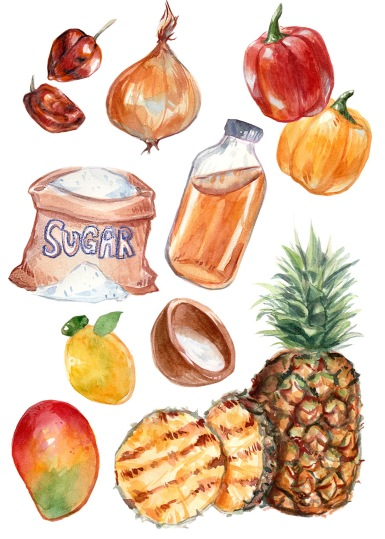 peppers pineapple habanero sauce ingredients watercolor food illustration
