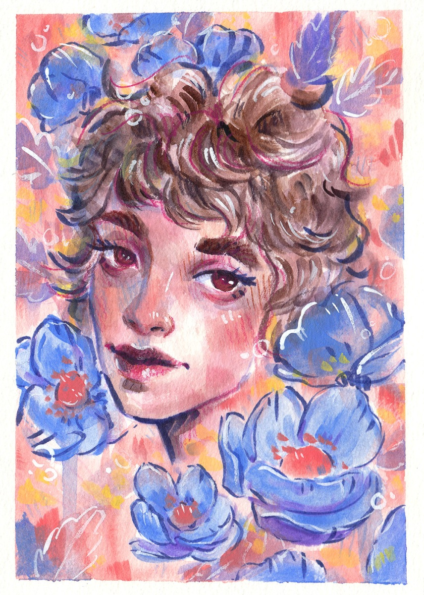 colorful mixed media portrait of a woman with blue poppies