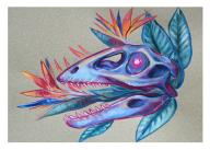 colorful gouache raptor skull painting birds of paradise crane flower illustration