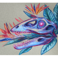 colorful gouache raptor skull painting birds of paradise crane flower illustration