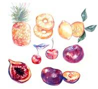 colorful cute fruit unique food illustration