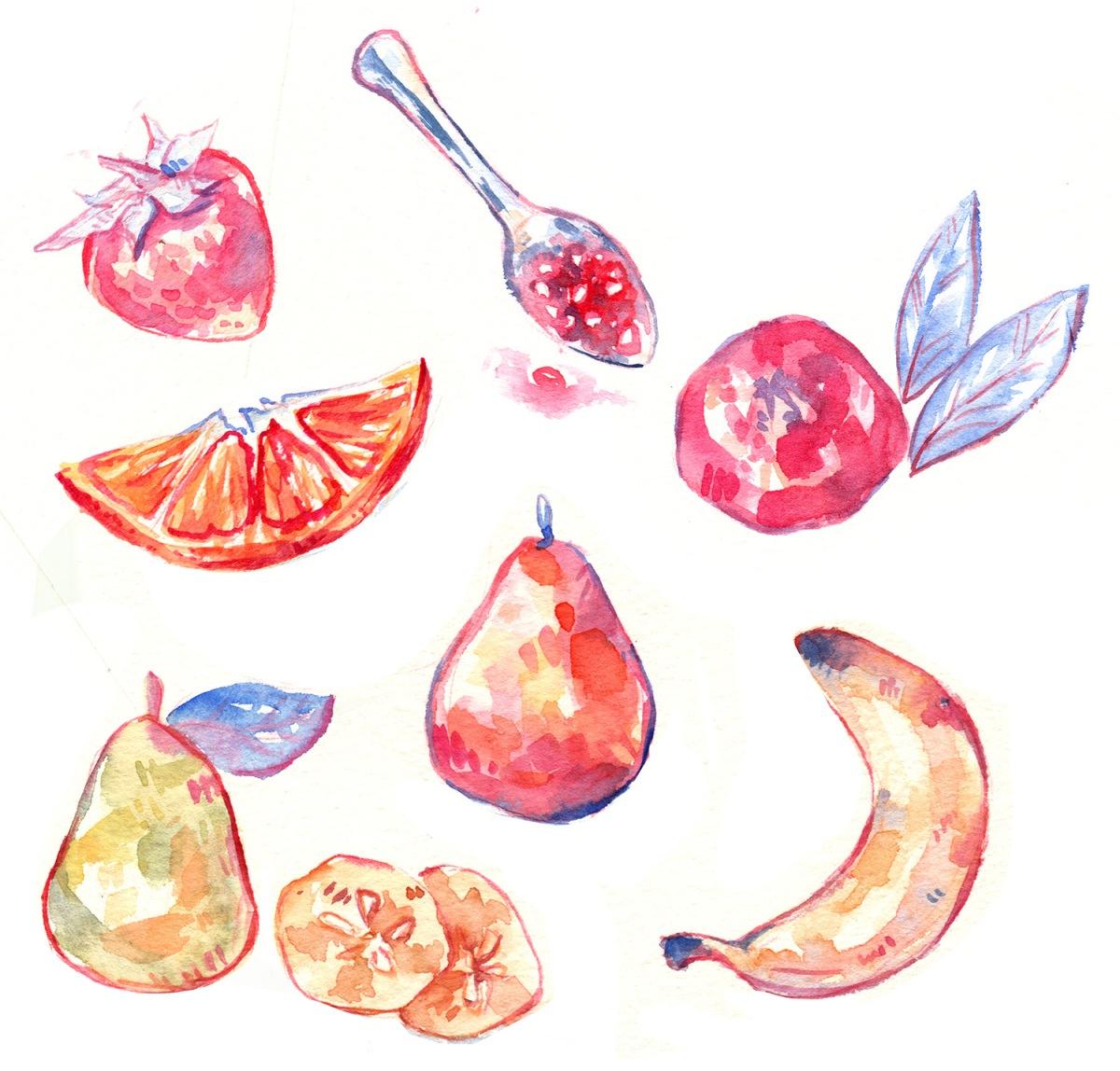 cute colorful pastel fruit illustration arrangement
