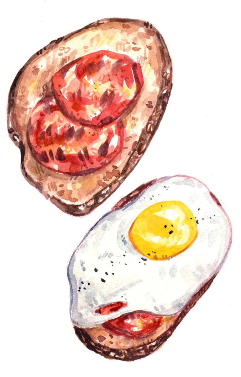 egg tomato breakfast toast food illustration watercolor