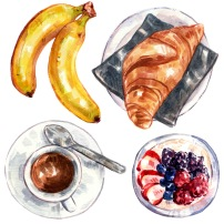 Watercolor illustration of breakfast foods including banana, biscuit, oatmeal and coffee.