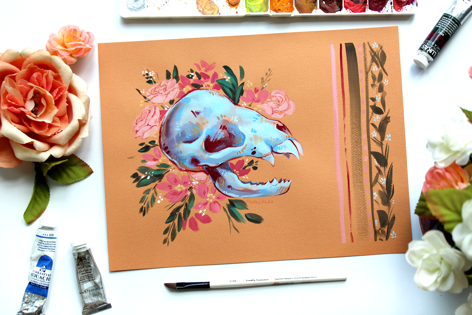 Original gouache painting of a bat skull with flowers