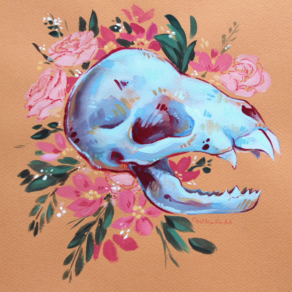 original gouache painting of a vampire bat skull with flowers on warm-toned paper