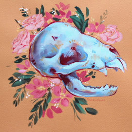 original gouache painting of a bat skull with flowers on warm-toned paper