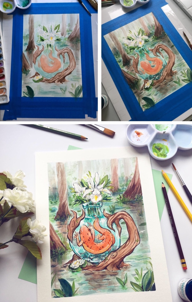Process of painting a watercolor, bottled salamander in a swamp
