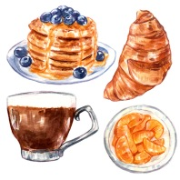 Watercolor illustration of breakfast foods including coffee, croissant, pancakes, and yogurt.
